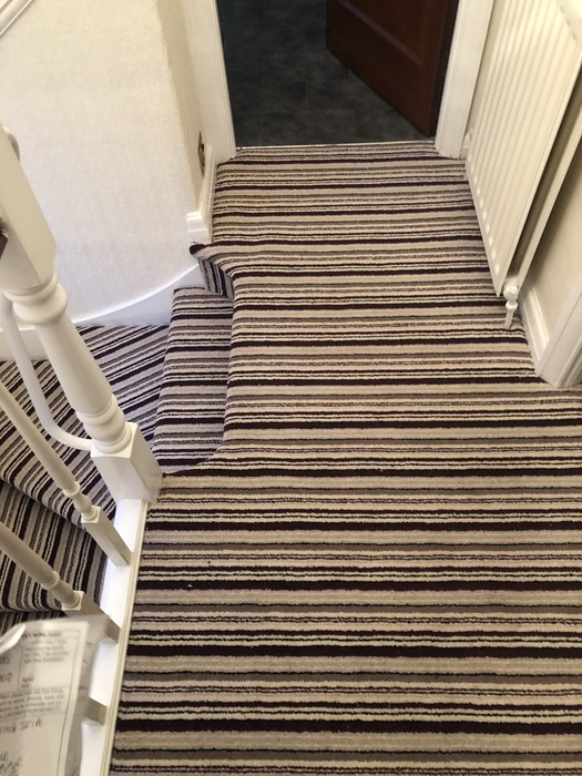 Stripy Carpet to Stairs Installed in Marylebone 5