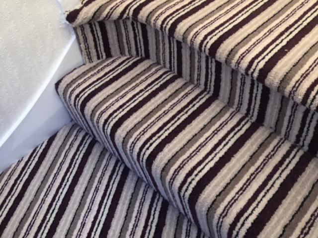 Stripy Carpet to Stairs Installed in Marylebone