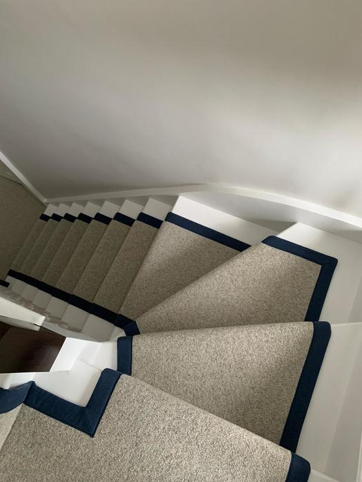 White Carpet with black border on Stairs Installed in Islington 2