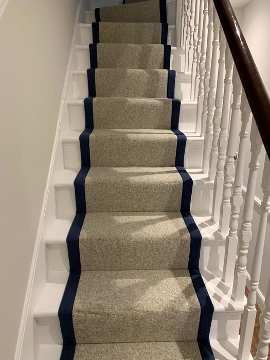 White Carpet with black border on Stairs Installed in Islington 3