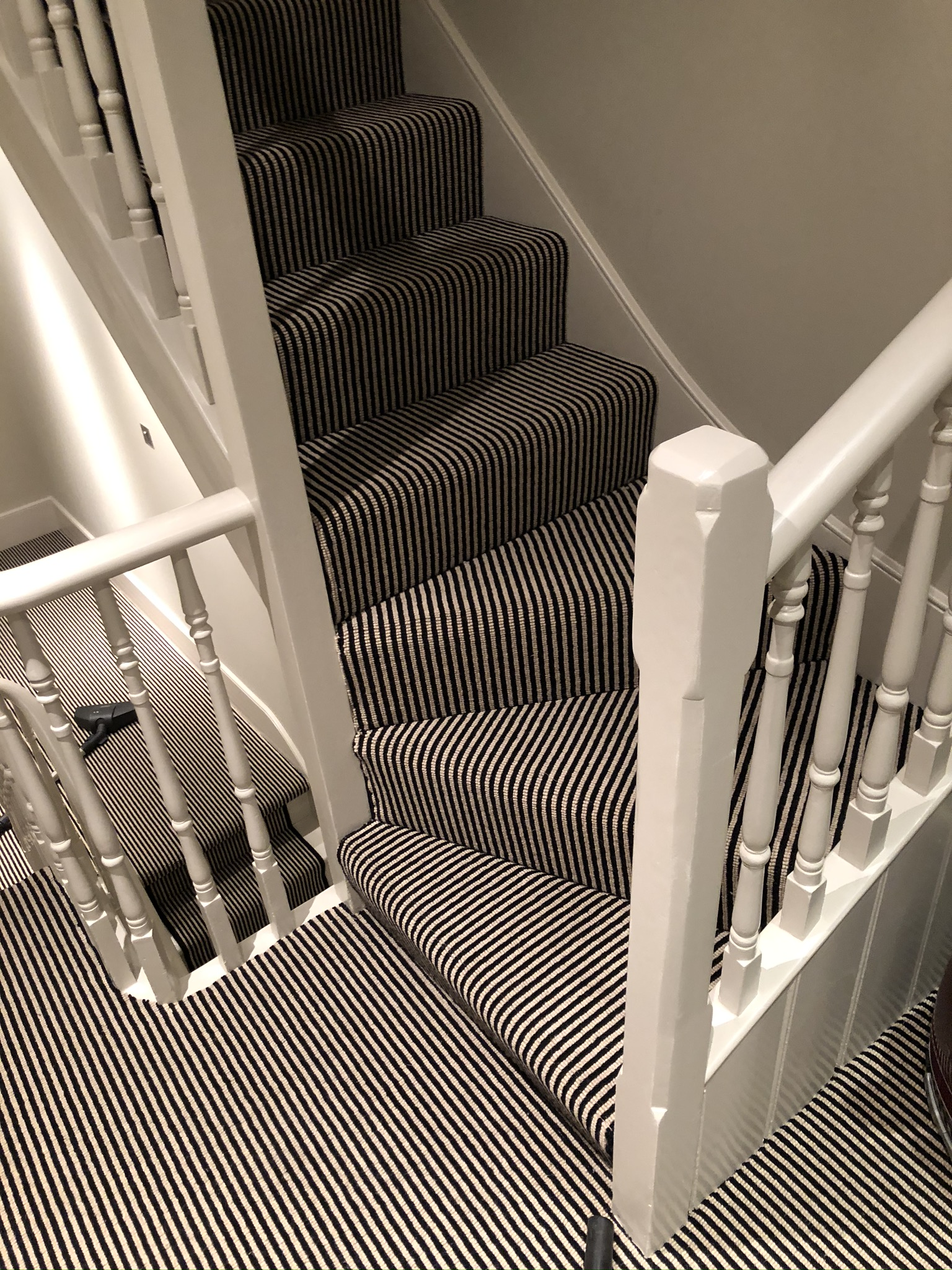 Hugh Mackay Carpets Deco Loop Two-Tone Magpie Black & White Stripe Carpet to Premises in Richmond 1