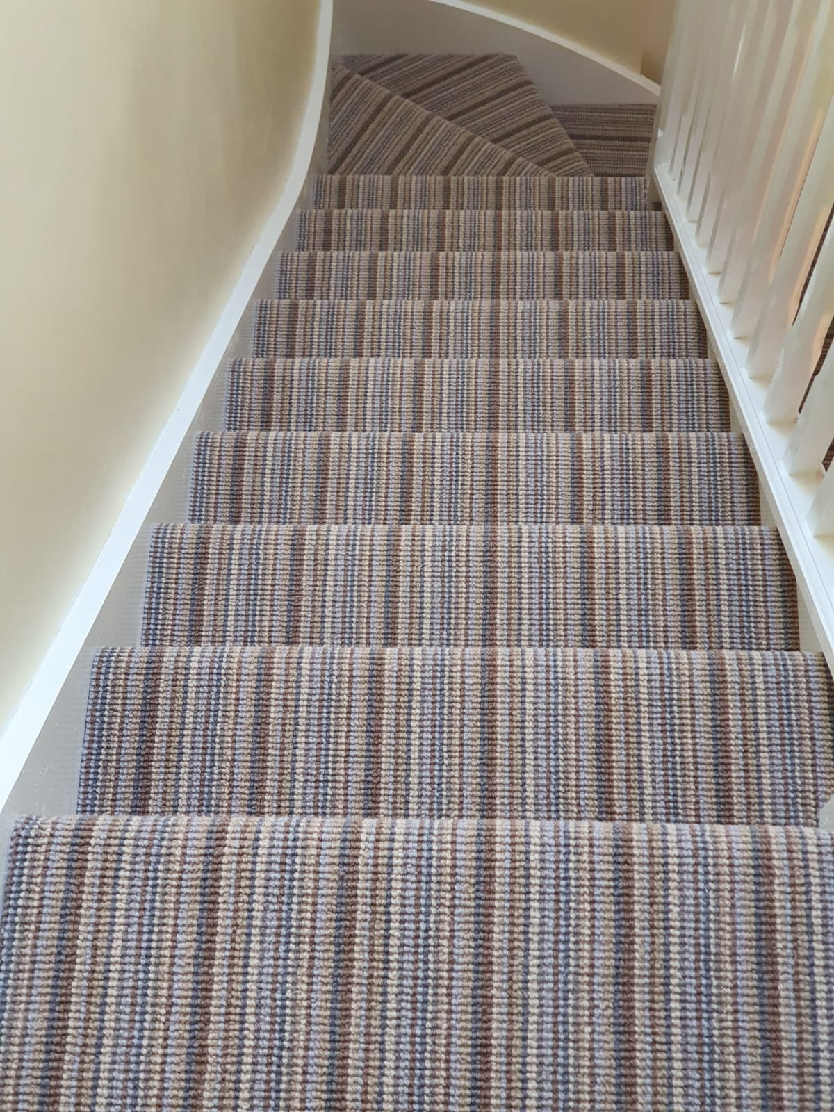 Blue & Brown Striped Carpet in Kensington 1