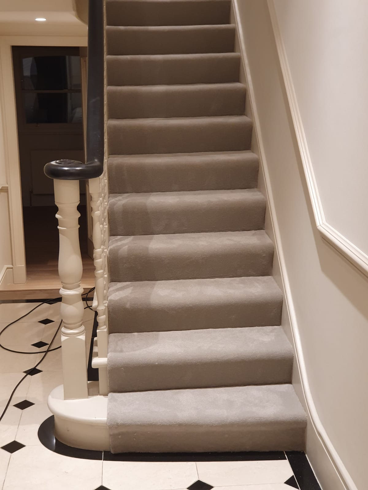 Grey Velvet Carpet to Stairs 1