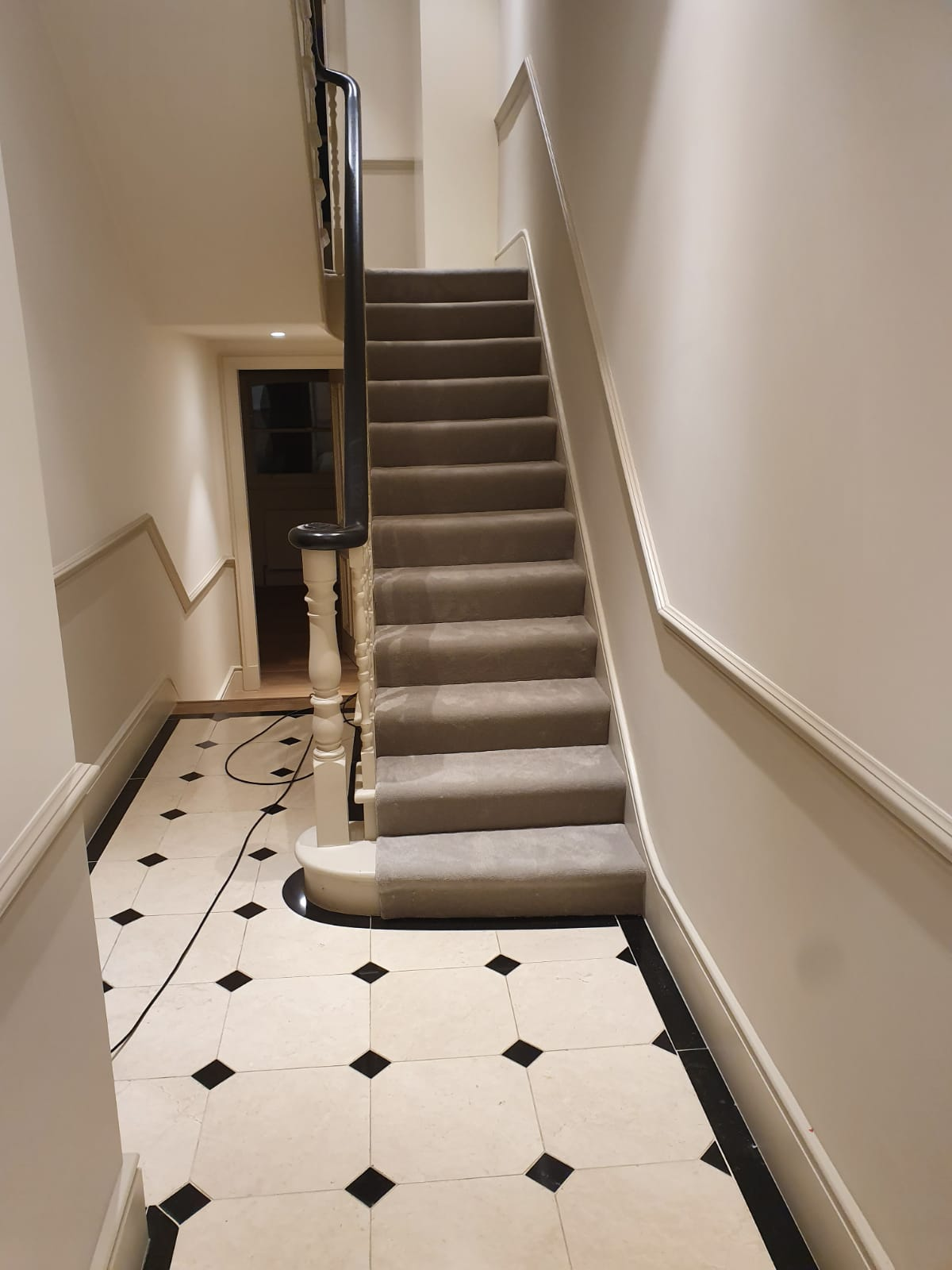 Grey Velvet Carpet to Stairs 2