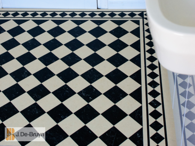 Marmoleum – 100mm Checkerboard Design paired with RDB205 borders and corners