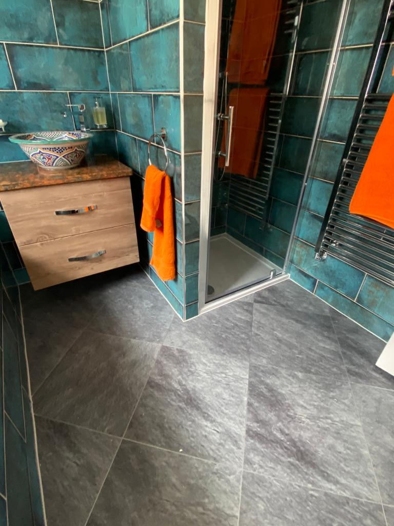 Amtico Signature Welsh Slate with Silver Stripping Installation 4