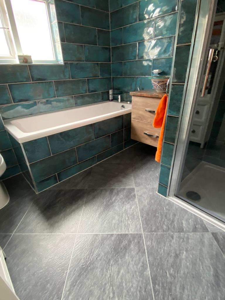 Amtico Signature Welsh Slate with Silver Stripping Installation 3