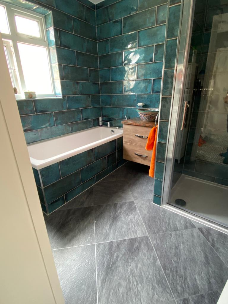 Amtico Signature Welsh Slate with Silver Stripping Installation 1