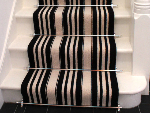Black And White Striped Stair Carpet