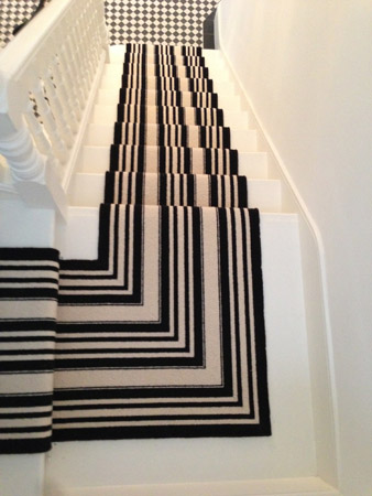 Black and White Stripe Stair Carpet 1