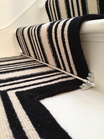 Black and White Stripe Stair Carpet 2