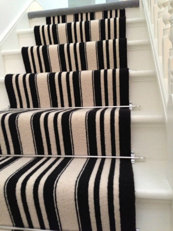 Black and White Stripe Stair Carpet 4