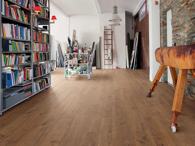 Haro laminate floor oak portland smoked authentic for Laminate flooring portland