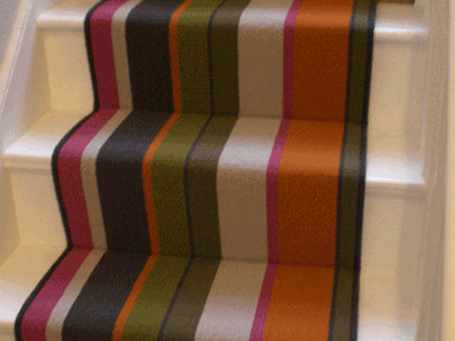 Multi Coloured Striped Stair Runner 1