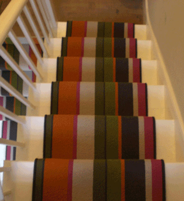 Multi Coloured Striped Stair Runner 2