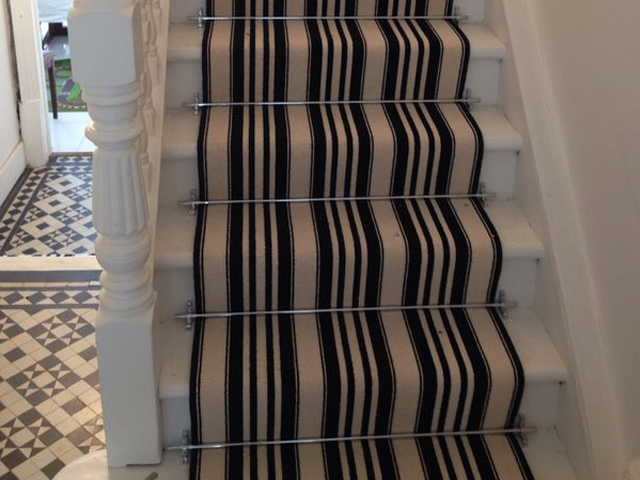 Stairs Black and White Stripe