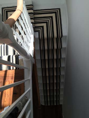 black and white striped stair carpet 1