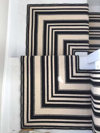 black and white striped stair carpet 2