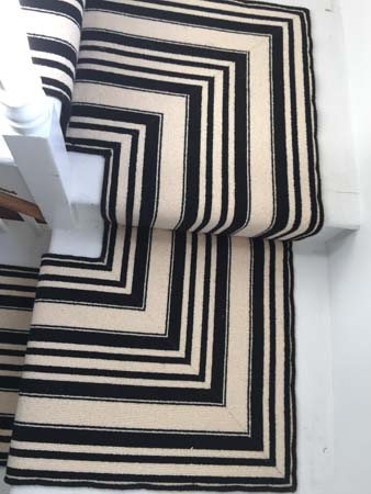 black and white striped stair carpet 4