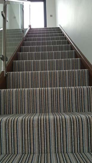 portfolio carpets blue striped stair carpet 03