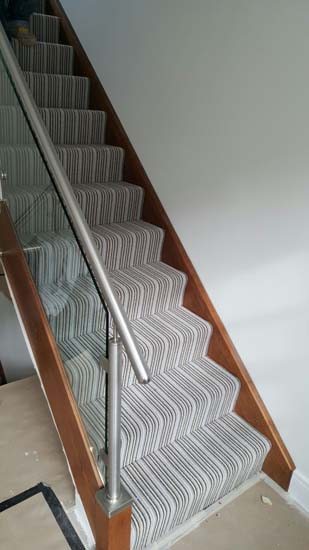 portfolio carpets blue striped stair carpet 08