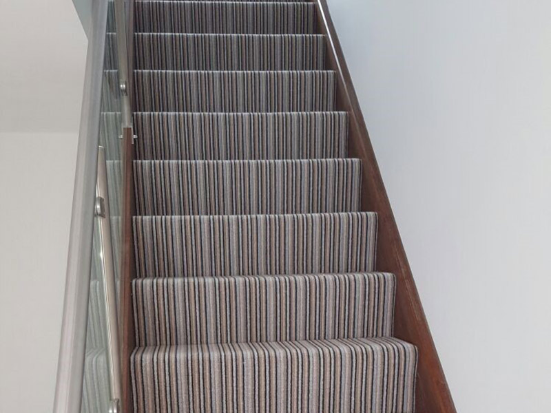 Blue Striped Carpet To Stairs The Flooring Group