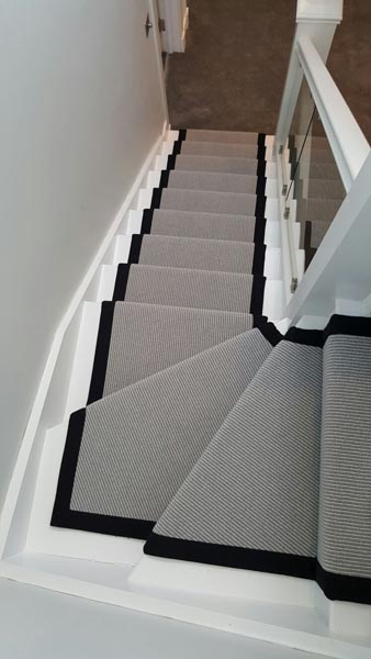 portfolio carpets stairs grey carpet runner with balck border 03