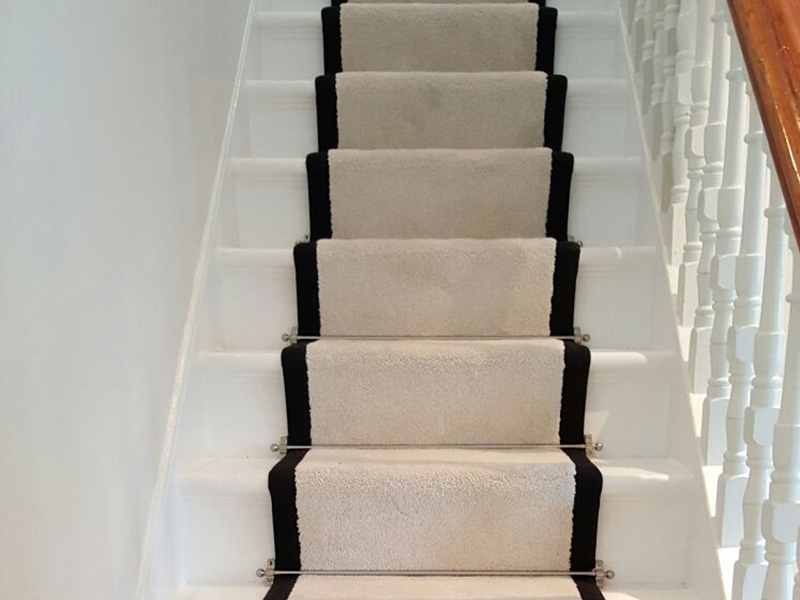 Stairs White Black Border Carpet Runner