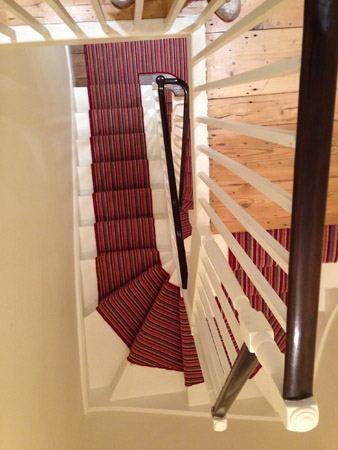red multicoloured stair carpet 1