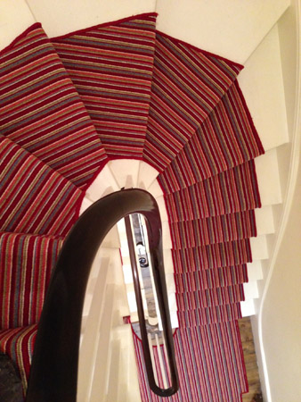 red multicoloured stair carpet 2
