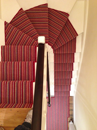 red multicoloured stair carpet 6