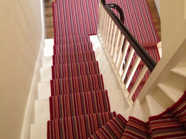 red multicoloured stair carpet