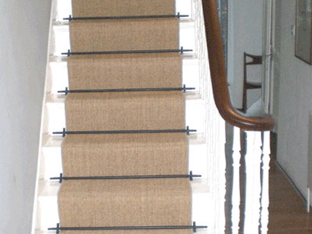 Sisal Carpet Laid As Runner With Stair Rods The Flooring