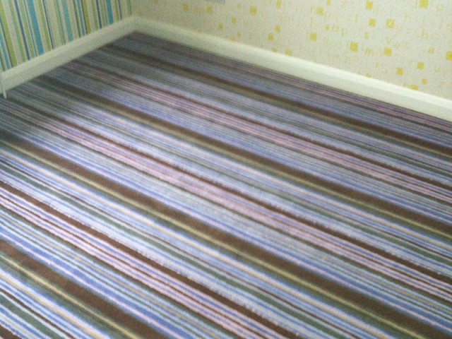 Bedroom, Stripy carpet - Darren & Jerome